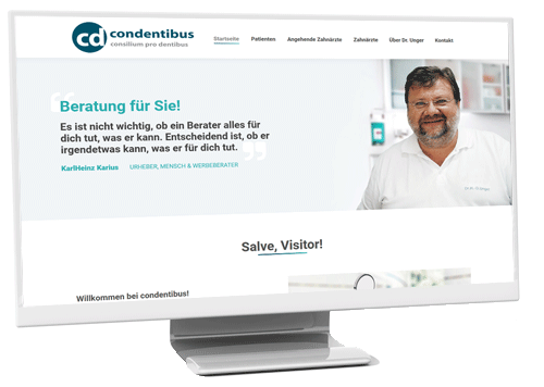 Monitor mit Website www.condentibus.de